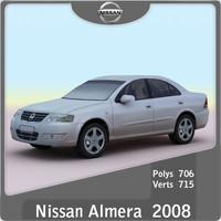 2008 nissan almera 3d model