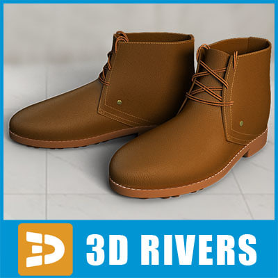 3d model man shoes rough