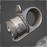 ring revolver pistol 3d model