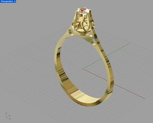 free 3dm model gold ring solitaire
