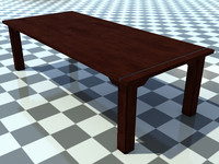 Table Old 1 - 3D Old Wooden Table model - Includes Wood Dark_1 Material - Made in 3ds max2010