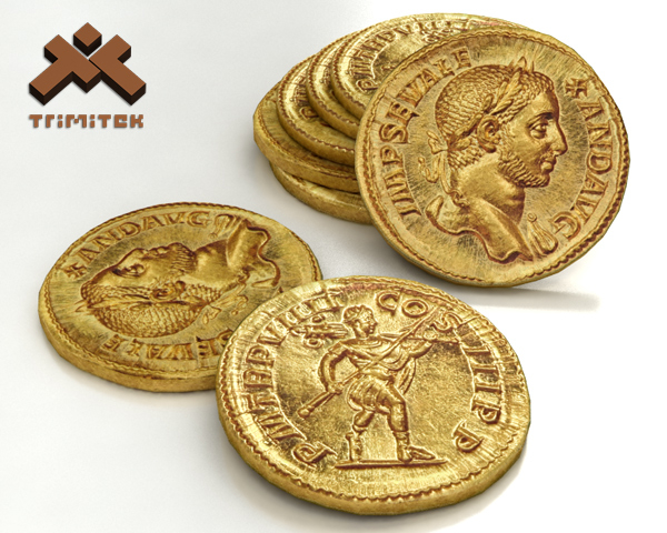 3ds realistic ancient roman gold coin