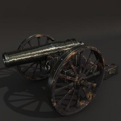 old cannon gun 3d model