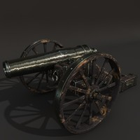 old cannon gun 3d model
