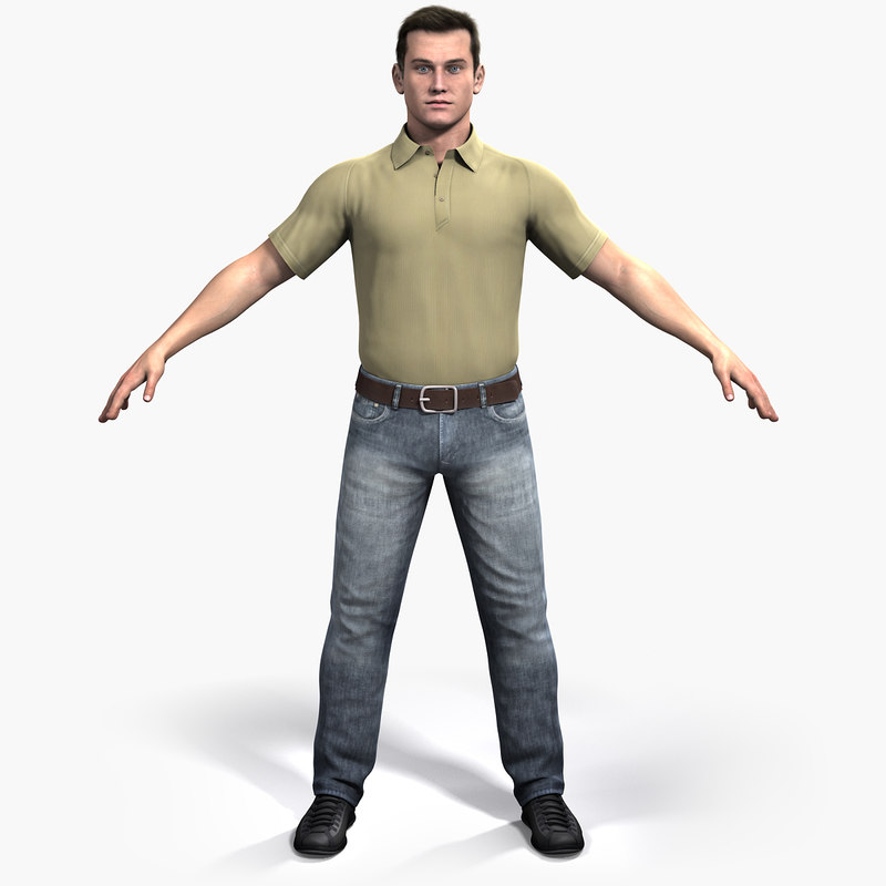 rigged dave realistic male 3d model