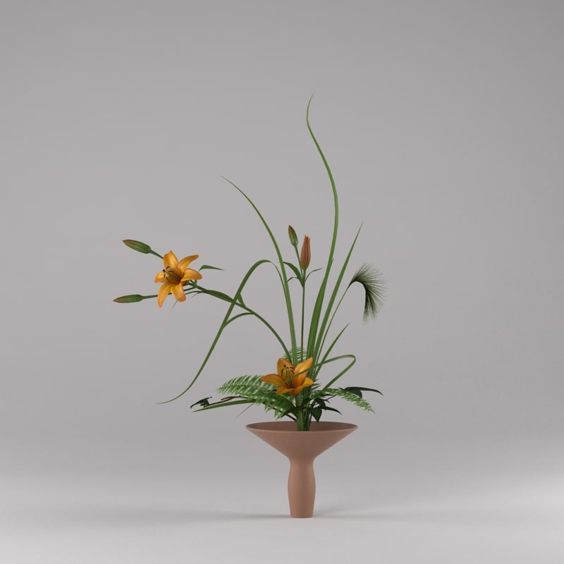 3d model lilly ikebana