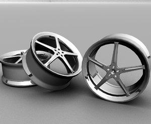 5 spokes custom rims 3d model