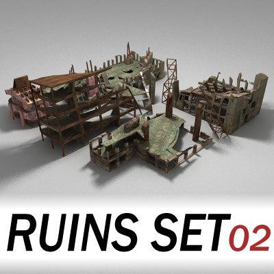 buildings city town ruins 3d model