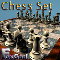 Chessboard and pieces with bonus chess table prop
