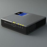 3d model router modem linksys
