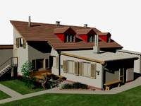 3d model home garden sidewalk