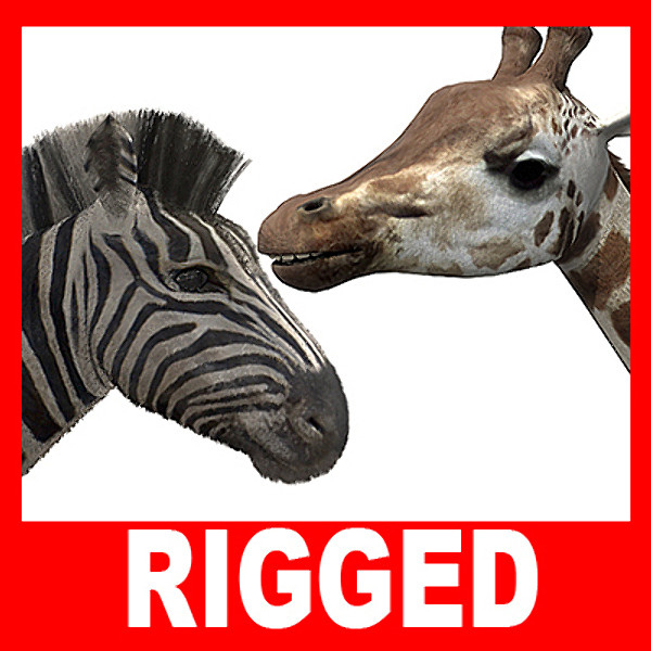 maya zebra giraffe rigged