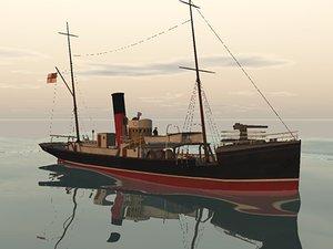 ww1 armed trawler 3d obj