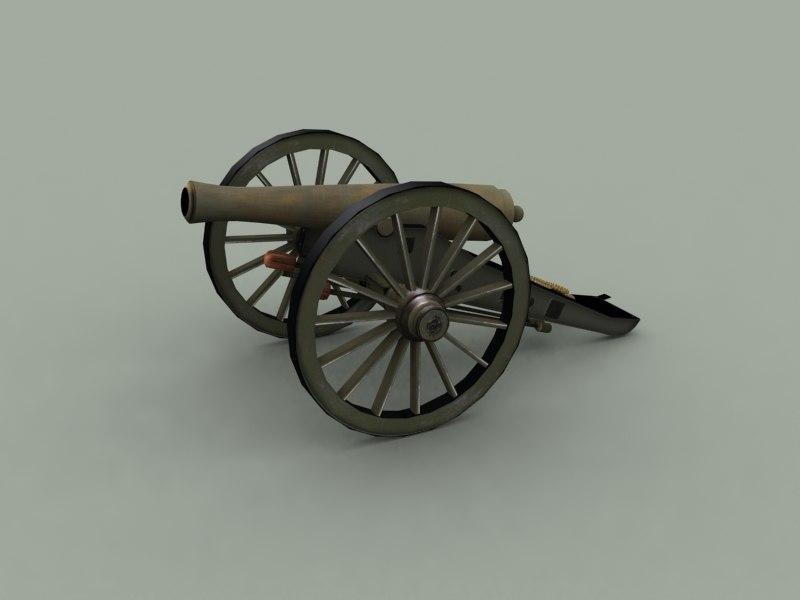 3d model of civil war cannon