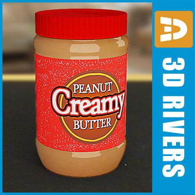 3d peanut butter jar model