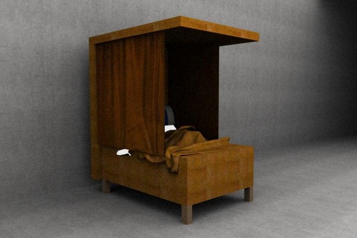 3d historical medieval bed model