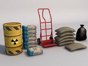 3d handtruck barrel cement model