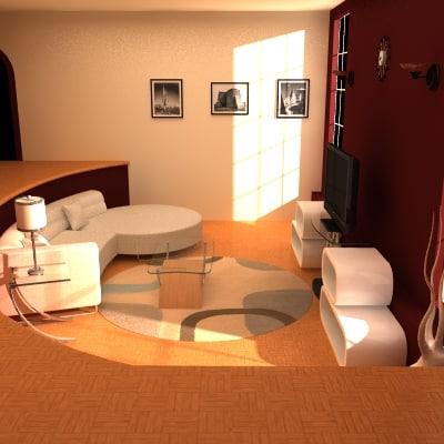 modern living room 01 3d lwo