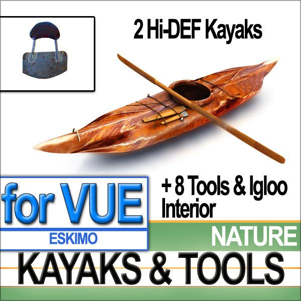 kayaks eskimo igloo tools 3ds