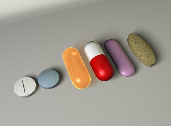 3d model of pills medication