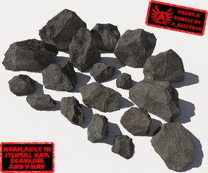 lot rocks stones - 3d 3ds