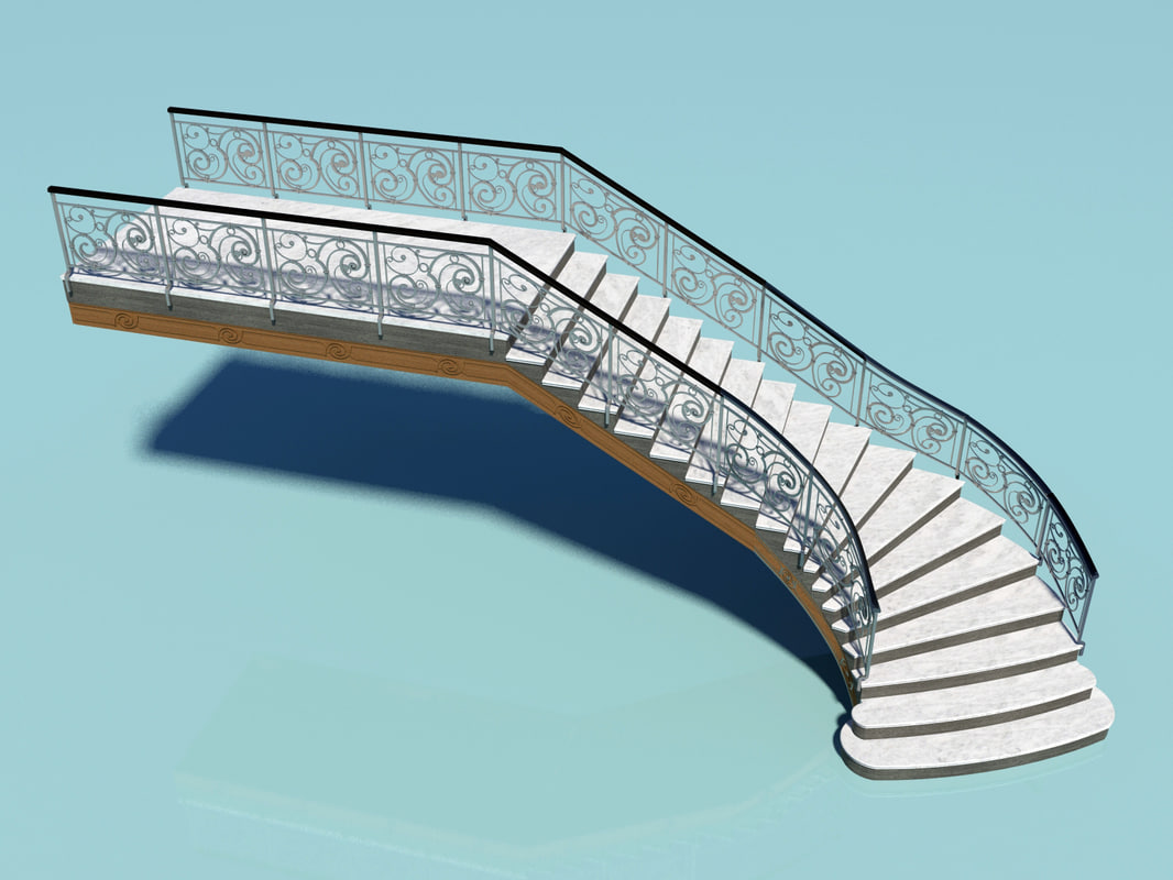 staircase ornamental metal 3d model