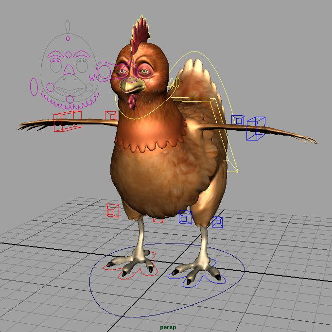 3d model chicken cartoony rigged cartoon