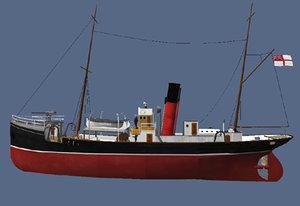 3d model ww1 trawler armed