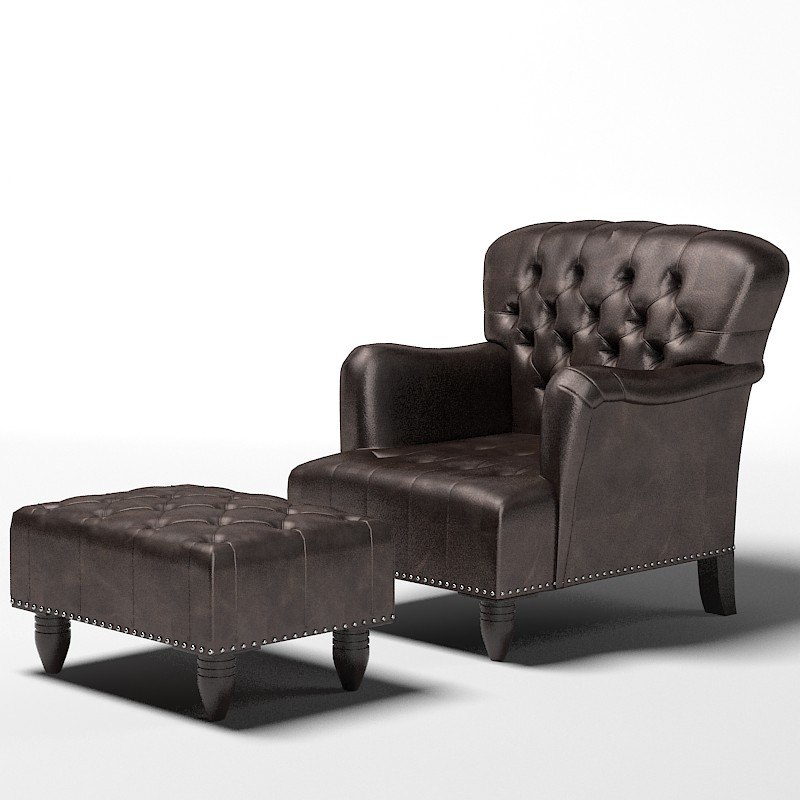 tufted chair ottoman 3d model
