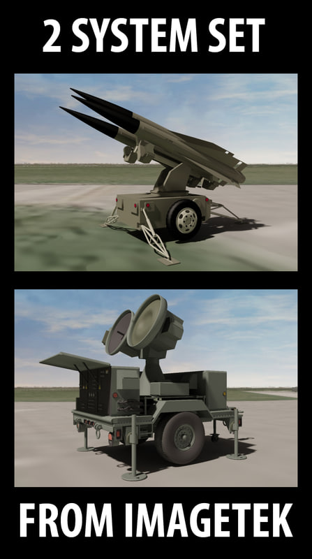military anti aircraft hawk missile 3d max