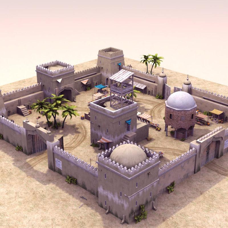 arabic fortress games 3d model
