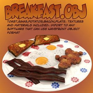3d model breakfast toast eggs