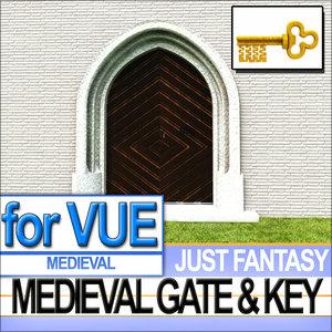 original medieval wood gate 3d 3ds