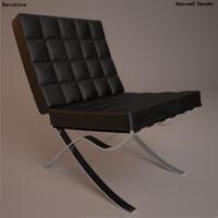 armchair barcelona 3d max