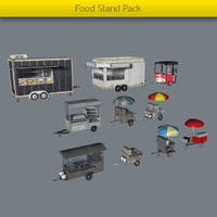 3d model of pack food stands
