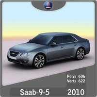 2010 saab 9-5 sedan 3d obj