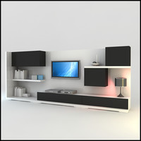 modern tv wall unit dwg