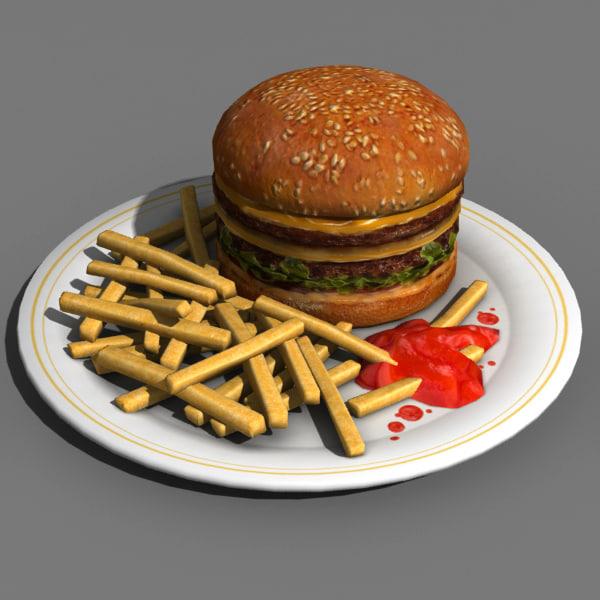 hamburger food 3d model