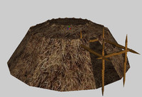 3d village chieftan hut chief