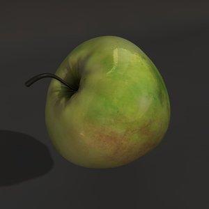 3d model of green apple