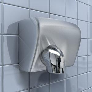 chrome hand dryer 3d model