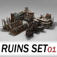 Ruins - buildings set 01