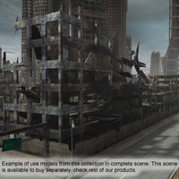 3ds max ruined buildings set construction