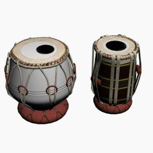 3d indian pakistani drum model