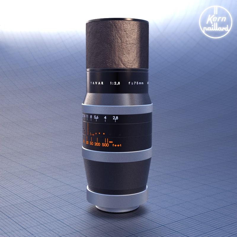 telephoto lens 75mm paillard bolex 3d 3ds