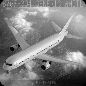 767-304 generic white plane 3d c4d