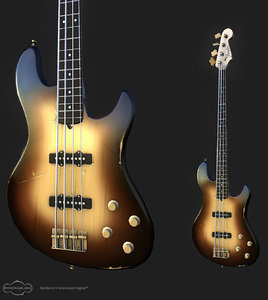 3d obj fender style bass guitar