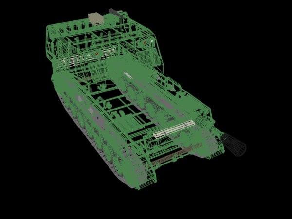 mobil artillery tank 3d model