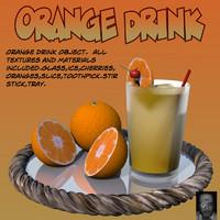 3d orangedrink orange drink glass
