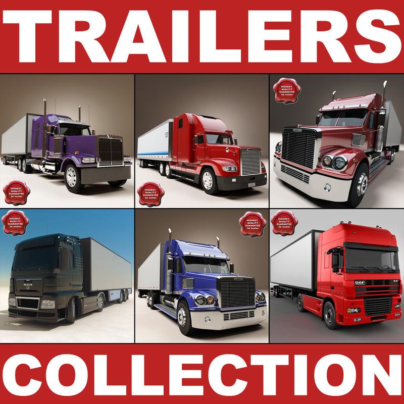 trailers truck modelled 3d obj
